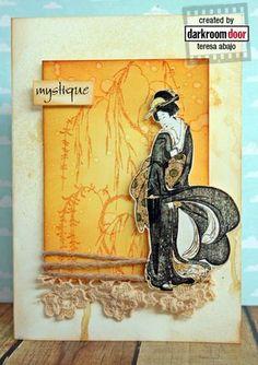 Darkroom Door Kimono Photochips & 'Foliage' Rubber Stamps - card by Teresa Abajo