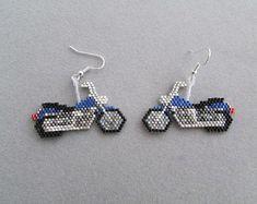 Blue Motorcycle Earrings in delica seed beads Seed Bead Earrings, Unique Earrings, Beaded Earrings, Seed Beads, Beaded Jewelry, Beaded Flowers Patterns, Seed Bead Patterns, Beading Patterns, Beading Needles