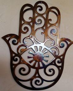 Wood Wall Art, Wall Art Decor, Hamsa Art, Yoga Studio Design, Gelli Arts, Wood Carving Patterns, Plasma Cutting, Wall Sculptures, Metal Art