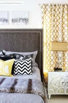 Rustic Modern Master Bedroom | Yellow Gray Black White | The Lettered Cottage