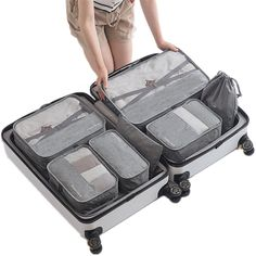 6 PCS Travel Storage Bag Set For Clothes Tidy Organizer Wardrobe Suitcase Pouch Travel Organizer Bag Case Shoes Packing Cube Bag. Subcategory: Home Storage & Organization. Storage Bags For Clothes, Bag Storage, Fabric Storage, Carry On Luggage, Luggage Sets, Travel Luggage, Voyage Week End, Bag In Bag, Road Trip Planner