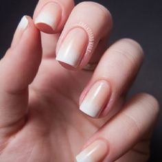 Light-pink and white faded French manicure