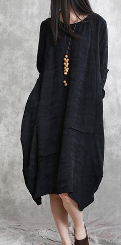 ff7a1ca77a Boutique black cotton linen caftans oversized o neck asymmetric traveling  dress vintage long sleeve baggy dresses