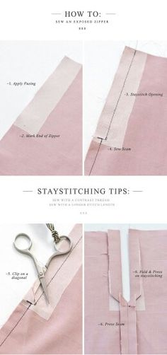 {How to:} Sew an Exposed Zipper (with a seam) (Pattern Runway - Sewing Patterns for the modern seamstress. Sewing Lessons, Sewing Class, Love Sewing, Sewing Basics, Sewing Hacks, Sewing Tutorials, Sewing Tips, Dress Tutorials, Techniques Couture