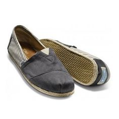 Toms Classics Women Grey Split Joint Stripe Charming