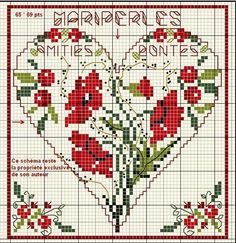 cross-stitch poppies heart... no color chart available, just use the pattern chart as your color guide.. or choose your own colors...