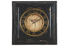 Distressed Square Clock