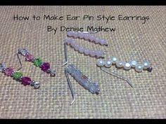How to Make Ear Pin/Climber Earrings by Denise Mathew Wire Earrings, Heart Earrings, Beaded Jewelry, Handmade Jewelry, Personalized Jewelry, Diy Jewelry, Jewlery, Elf Ear Cuff, Ear Cuffs