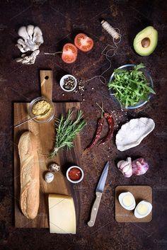 sandwich cooking ingredients by Iuliia Leonova on @creativemarket