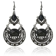 BinmerTM Women Vintage National Style Earrings Delicate Carved Hollow Jewelry Black * Check this awesome product by going to the link at the image.