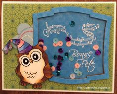 Art Impressions Rubber Stamps: Ai Whoots: Birthday Whoot.  Handmade owl shaker card