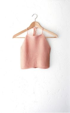 Knit Sweater Halter Crop Top - Peach