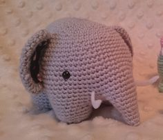 Crochet grey elephant, plushy amigurumi by CrochetAga on Etsy