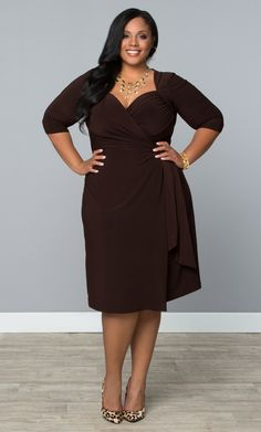 Feel like an unearthed beauty this spring in our plus size Sweetheart Knit Wrap Dress.  www.kiyonna.com  #KiyonnaPlusYou  #MadeintheUSA  #Brown  #Neutral