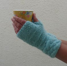 LUXURY baby Alpaca blend fingerless mitts . Knitted . by alidufty