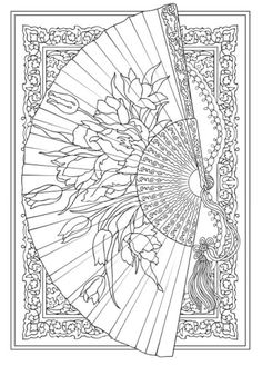 Creative Haven Vintage Hand Fans Coloring Book Dover Publications Adult Page