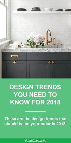 """In interior style is all about rejecting conformity to achieve a particular """"look"""" and embracing imperfections. Individual touches have never been so big and anything with a touch of whimsy gets full marks. Basically, 2018 is bringing about the death Diy Cupboards, Dark Cabinets, Pavillion, Laundry Design, New Kitchen, Kitchen Small, Kitchen Sink, Laundry In Bathroom, Bathroom Inspiration"""