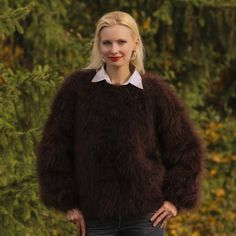 Fuzzy 100% hand knitted mohair sweater in dark brown, size S, M, L, XL