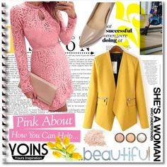 Yoins Yellow Blazer by meldin on Polyvore featuring moda, By Terry, OPI and yoins