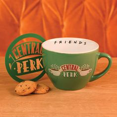 Friends Central Perk Green Cappuccino Mug with Stencil Friends Merchandise, Cappuccino Mugs, Gifts For Friends, Manhattan, Coffee Cups, Stencils, Best Gifts, How To Memorize Things, Ceramics
