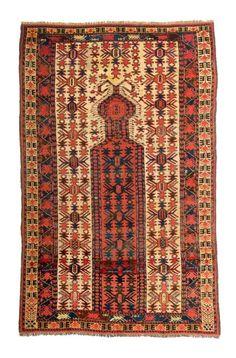 Lot 156. Lot 156. Beshir prayer rug, 6ft. 3in. x 3ft. 11in. 191 x 120 cm, Turkmenistan 1860.
