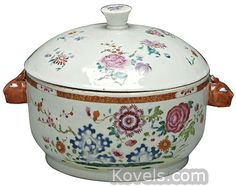 Chinese Export Lid, Famille Rose, Rabbit Head Handles, 19th Century Tureen