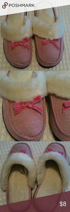 Pink Isotoner Slippers Worn inside once! Excellent condition! Faux fur inside. Velvety bow. Size 8.5-9 women's Isotoner  Shoes Slippers