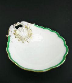 Antique French Old Paris Porcelain Shell Shaped Bowl c 1830 , Gold Gilt & Turquoise Border -- $350.00  #AntiqueFrench #OldParisPorcelain #ShellShaped #Bowl #c1830 , Gold #Gilt & #Turquoise Border #HardPaste #Porcelain #Sevres #Limoges