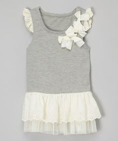 Look what I found on #zulily! Gray & Ivory Eyelet Angel-Sleeve Tunic - Infant, Toddler & Girls #zulilyfinds