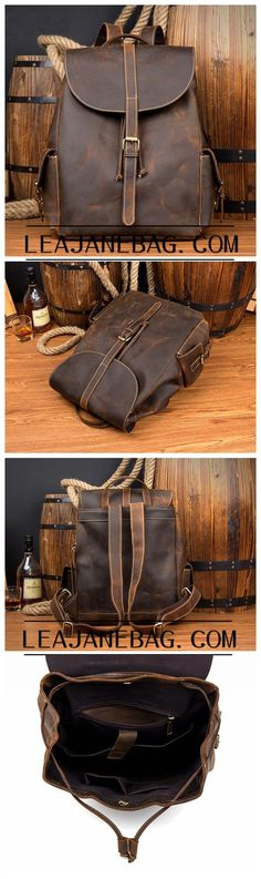 Genuine Leather Backpack,Backpack Bag, Brown Leather Backpack, Extra Larger Travel Backpack MS016