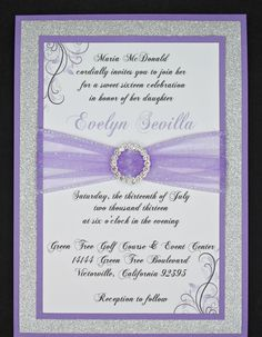 Lilac and Silver Glitter Quinceanera or Wedding Invitation Full of Bling, Sparkle, and Dazzle-Custom & Handmade. $5.00, via Etsy.