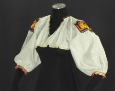 Item Antique woman's apron from Tekov region, Slovakia. This is an older style of apron that was worn at the end of the and first part of the century. It is made of heavy polished cotton and hand embroidered. Folk Costume, Costumes, Dance Of Death, European Fashion, Bell Sleeve Top, Fashion Outfits, Embroidery, Antiques, Kitsch