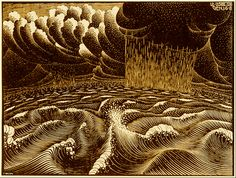 'The Second Day of the Creation' (1925) by Dutch artist M.C. Escher (1898-1972). Woodcut, 11 x 14.75 in. via National Gallery of Art