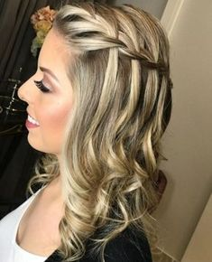 Amazing Waterfall Braded Prom Hairstyles 2019 For Your Exclusive . - Amazing waterfall braded prom hairstyles 2019 for your exclusive … – prom hairstyles - Prom Hairstyles For Long Hair, Party Hairstyles, Cute Hairstyles, Braided Hairstyles, Wedding Hairstyles, Hairstyles 2018, Ethnic Hairstyles, Hairstyle Short, Short Haircut