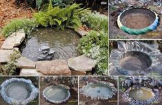 A garden water feature from an old tractor tyre