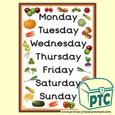 Harvest Days of The Week A3 Poster - Primary Treasure Chest Free Fruit, Fruit And Veg, Winter Day, Winter Theme, Thanksgiving Fruit, Dinosaur Posters, Harvest Day, Teaching Art, Teaching Ideas