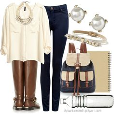 A fashion look from January 2014 featuring white blouse, blue jeans and leather boots. Browse and shop related looks.