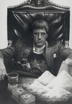 Al Pacino in Scarface, who was Tony Montana, was the kingpin of drug trafficking in Miami. Scarface Poster, Scarface Movie, Scarface Quotes, Dope Cartoons, Dope Cartoon Art, Arte Dope, Dope Art, Al Pacino, Clown Tattoo