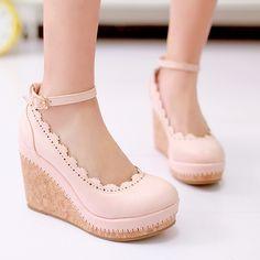 Departamento de japonés y Coreano Mori chica dulce señoritas pequeñas cuñas plataforma zapatos fresco helado de color rosa princesa calzado de zapatos de plataforma