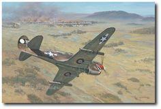 AVIATION ART HANGAR - Rockets for Tengchong by Roy Grinnell (P-40 Warhawk)