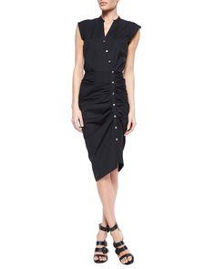 Ruched Asymmetric Cap-Sleeve Shirtdress, Black - Veronica Beard