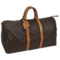 Pre-owned Louis Vuitton Keepall 50 Boston Travel Old Model Lv 7010... ($374) ❤ liked on Polyvore featuring bags, luggage and monogram