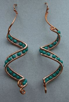 Copper spiral wire wrapped beaded dangle earrings