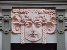 Art Nouveau face  Decorative element of the facade of one of the marvelous Art Nouveau buildings in Riga, Latvia