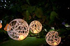 sting lights with flameless tea lights inside