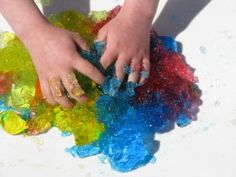 Jelly (aka Gellatin) is a great tactile experience. Learning 4 Kids has some neat ideas to get messy with this edible experience! Pinned by SPD Blogger network. For more sensory-related pins, see http://pinterest.com/spdbn