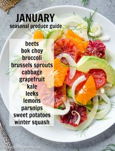 January Seasonal Produce Guide is your guide to what produce is in season and a variety of recipes to incorporate it in! @FlavortheMoment
