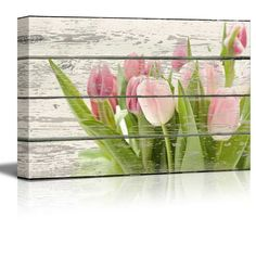 Pink and Green Tulips Flowers Artwork -Canvas Wall Art Home Decor - 16x24 inches
