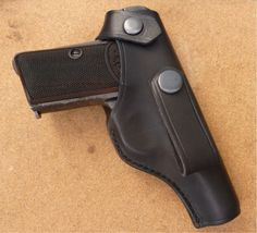Custom made IWB strap with press stud closing leather holster for classic Browning 1910 automatic pistol - handmade by makeitjones.co.uk