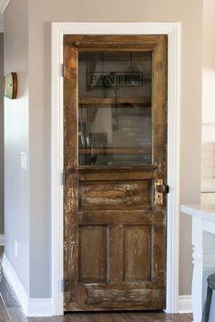 Need a pretty pantry door. Vintage farmhouse door repurposed as a pantry door - by Rafterhouse Küchen Design, House Design, Vintage Farmhouse, Farmhouse Door, Farmhouse Style, Farmhouse Kitchens, Farmhouse Furniture, Furniture Plans, Kids Furniture